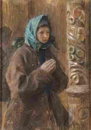 Teodor Axentowicz (1859 - 1938) Praying Hutsulka