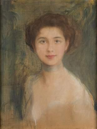 Teodor Axentowicz (1859 - 1938) Portrait study of Mrs.