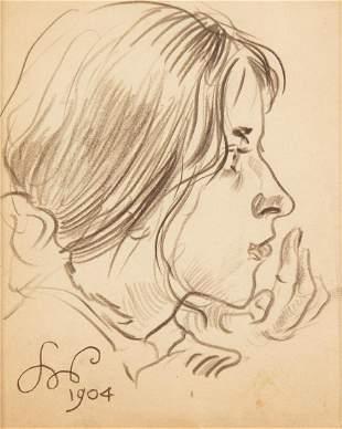 """Stanislaw Wyspianski (1869 - 1907) """"Girl's Profile,"""