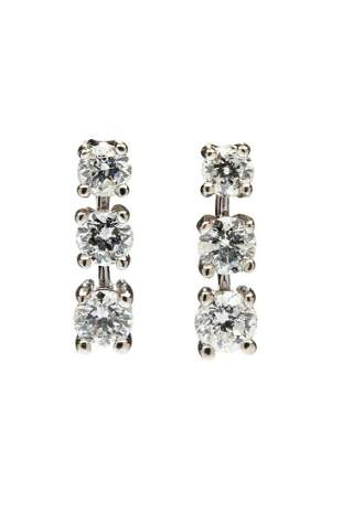 Diamond earrings, 20th/21th Century, 0.585 white gold,