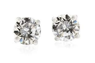 Diamond earrings, 20th/21th Century, 0.950 platinum, 2