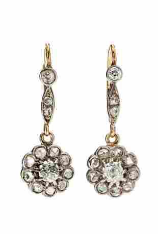 Flower motive earrings, beginning of the 20th Century,