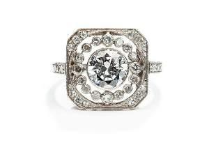 Diamond ring, 20th/21th Century, 0.950 platinum, 1