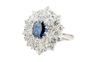 Sapphire and diamond cluster ring, Vienna, 2nd half of