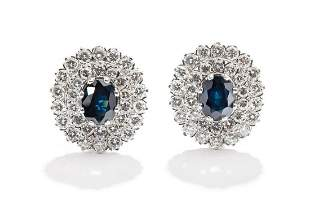 Sapphire and diamond cluster earrings, Vienna,