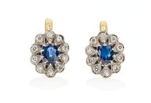 Art déco type earrings, 2nd half of the 20th