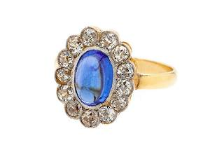 Diamond and sapphire ring, 2nd half of the 20th