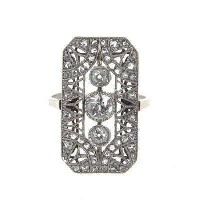 7: Platinum ring with diamonds ,  20-ties–30-ties XXcen