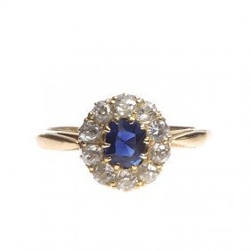 Gold Ring With Diamonds , 20-ties-30-ties XX Centur
