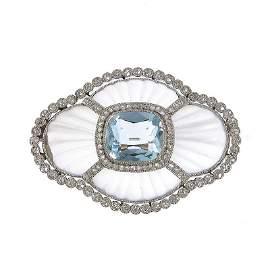5: brooch with aquamarine, circa 1900  platinum  ~ 0,95