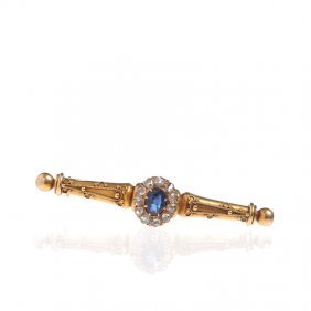 Brooch With Sapphire, Russia, XIX Th Century Gold  ""