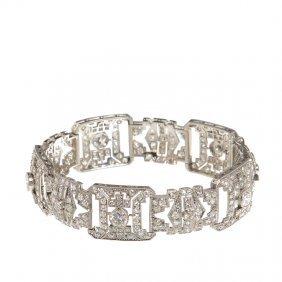 Art D�co Bracelet,  20.-30. XX Th Century Platinum