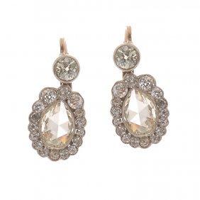 16: diamond earrings, XIX th century gold  ~ 0,580, sil