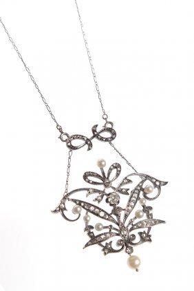 17: necklace, XIX/XX th century silver, gold  ~ 0,750,