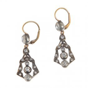 Earrings, XIX Th Century Gold  ~ 0,580, Silver, 22