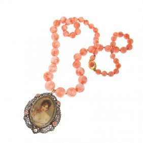 19: necklace, string of rose coral, c. 8,5 mm - 12 mm,