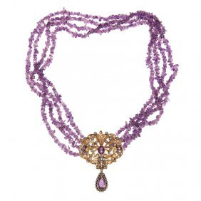 21: necklace with brooch, Italy, XX th century amethyst