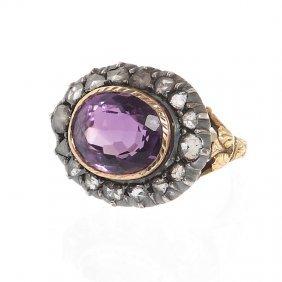22: Amethyst ring, 1st half of XIX th century gold  ~ 0
