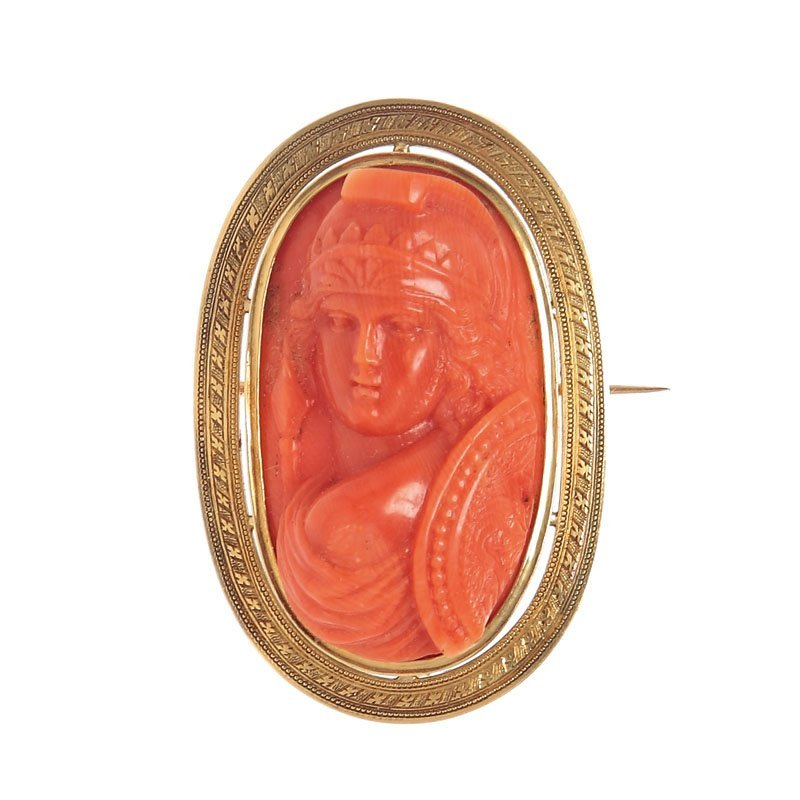 24: Cameo brooch, France, XIX th century sculpture in c