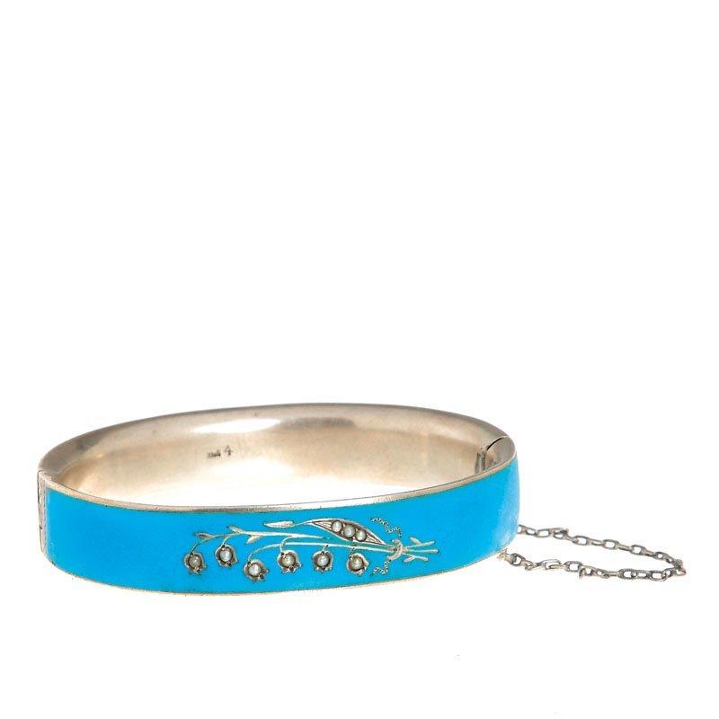 55: Enamel bracelet , Austria, XIX th century silver, e