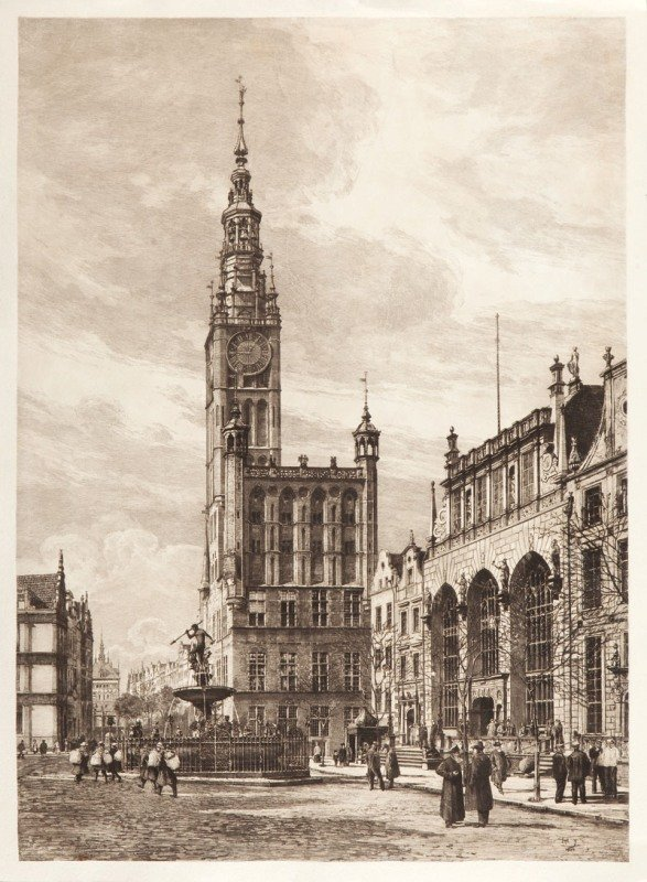 19: Hugo Ulbrich (1867-1928) Widok Gdanska, 1909  etchi