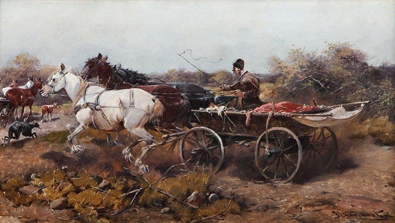 20: J. Konarski XIX/XX th century W drodze oil/board, 1