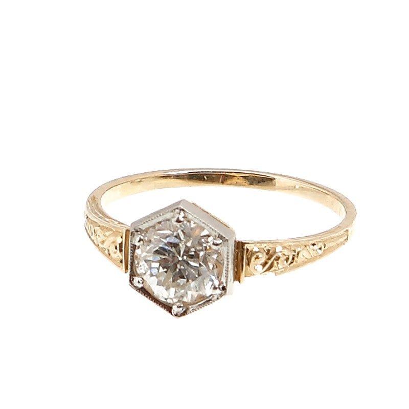 2: Diamond ring XX century gold  0,585, platinum  0,950