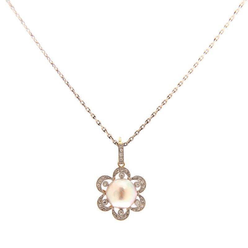4: Pearl pendant  I half of XX century platinum  ~ 0,95
