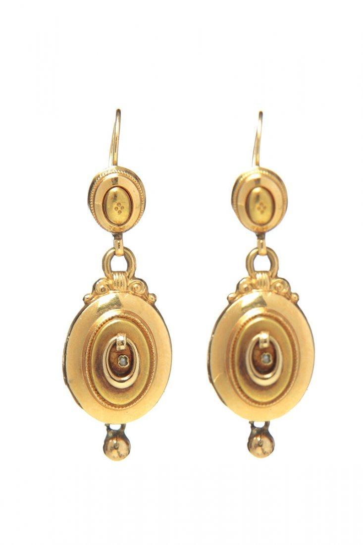 18: Biedermeier earrings XIX century gold  ~ 0,580, 2