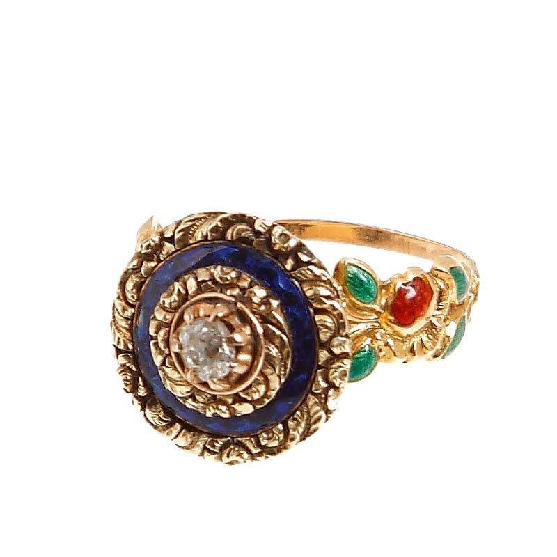 23: Ring  XVIII/XIX century gold  ~ 0,700, 1 diamond ~