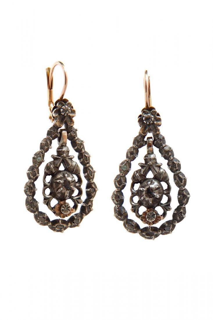 14: Earrings with rose-cut diamonds, XIX th century gol