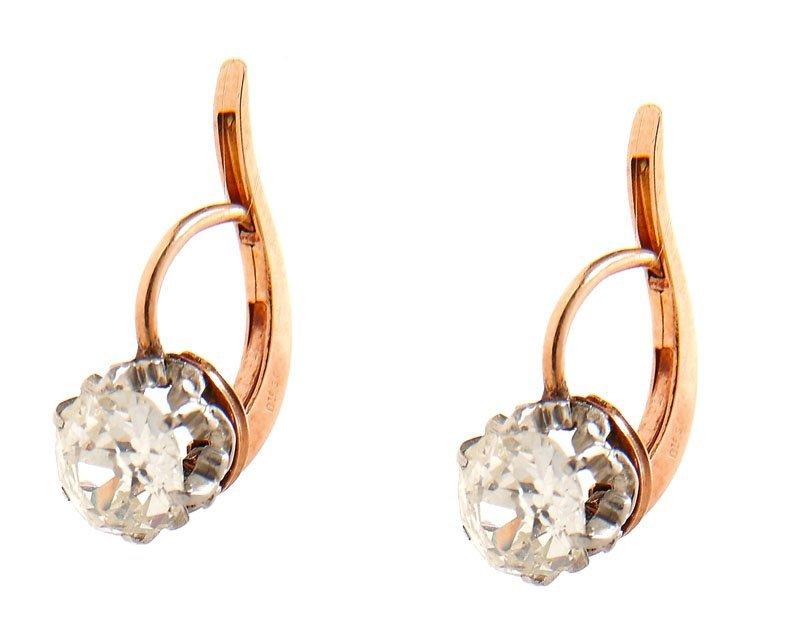 21: Diamond earrings , I st half of XX th century gold