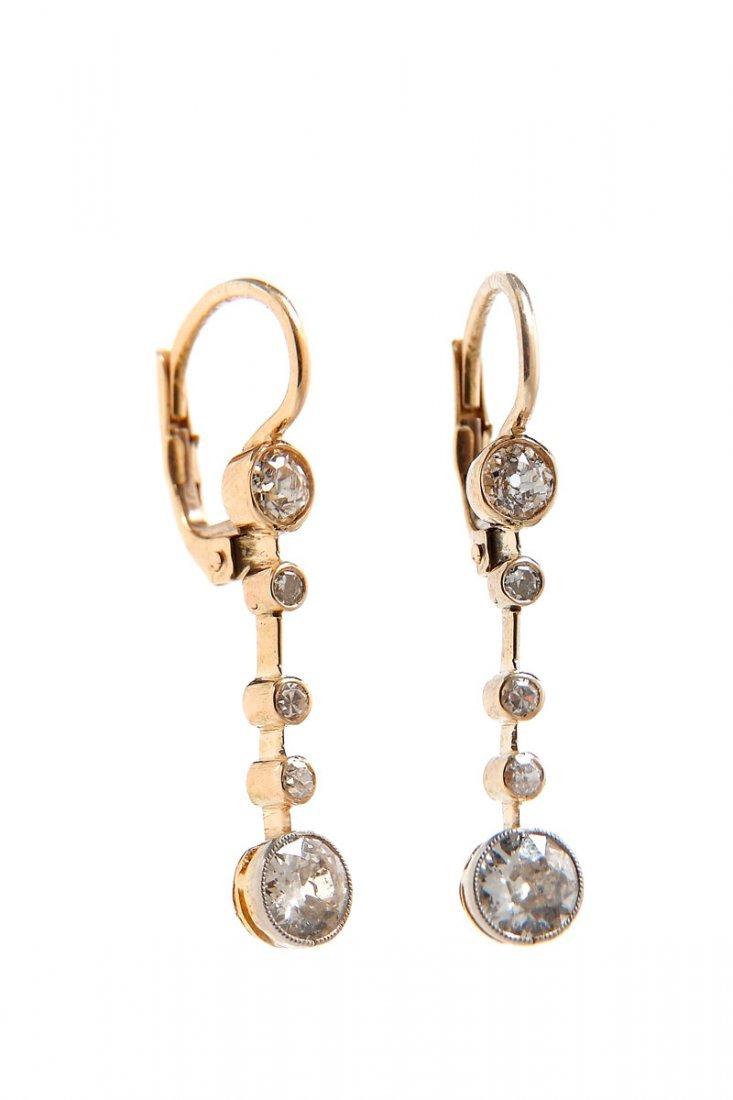 24: Diamond earrings, beginning of XX th century gold