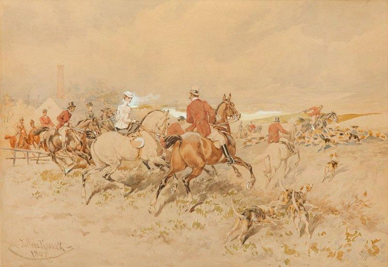 Juliusz Kossak (1824 Nowy Wisnicz - 1899 Cracow) Huntin