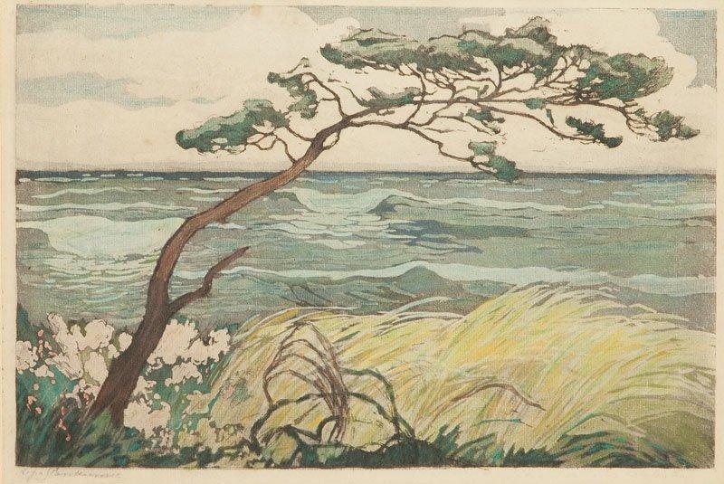 Zofia Stankiewicz (1862 - 1955 Warsaw) Seashore aquatin