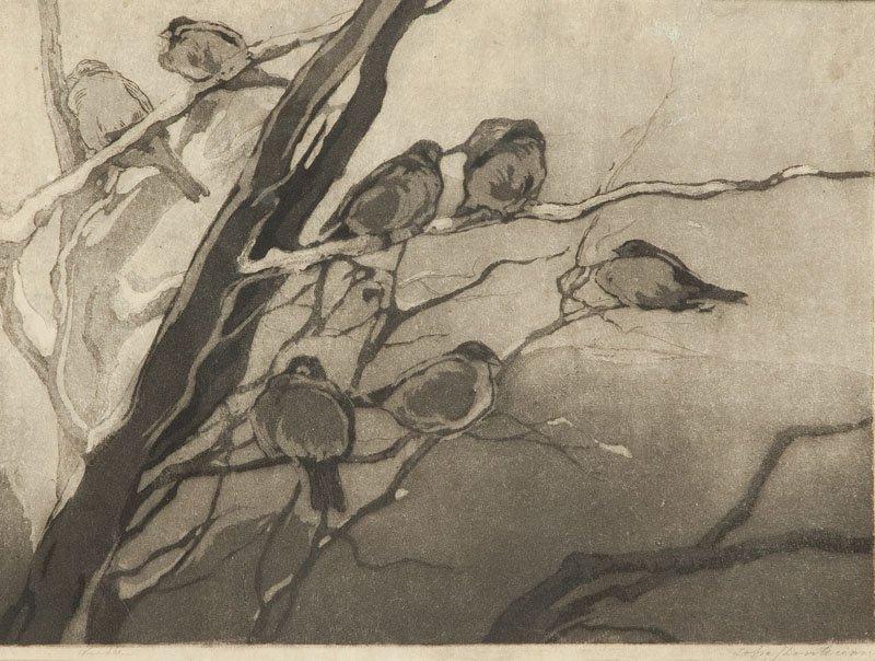 """Zofia Stankiewicz (1862 - 1955 Warsaw) """"Sparrows"""" aquat"""