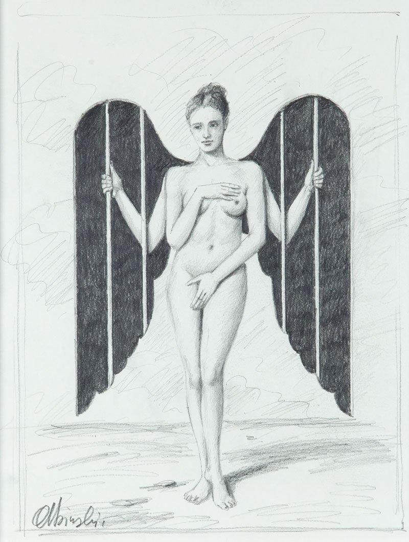 Rafal Olbinski (b. 1943 , Kielce) Woman-Angel pencil/pa