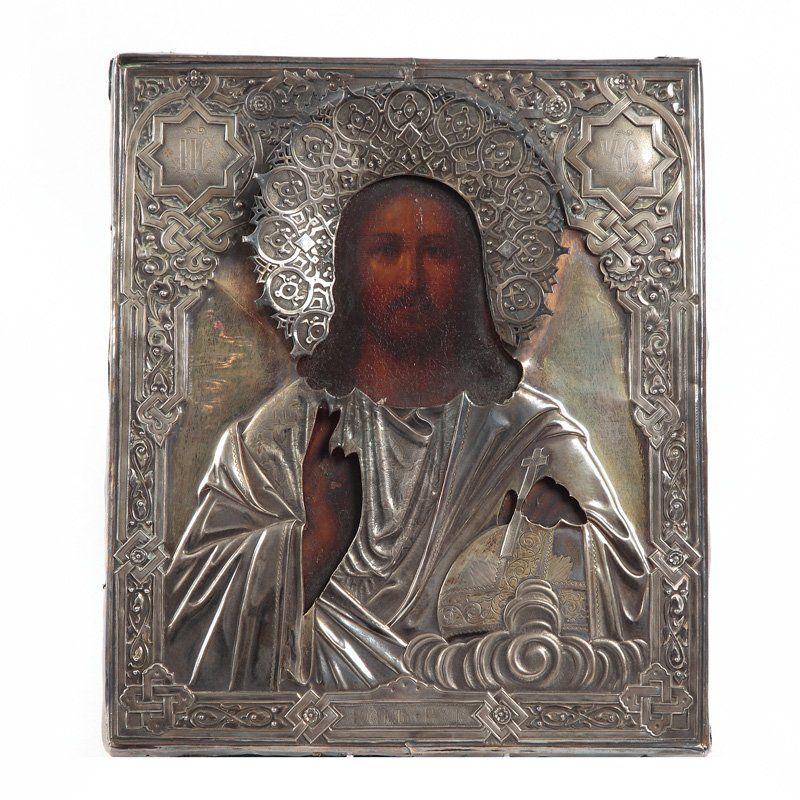 Icon - Christ Pantocrator Moscow, 1866 distemper/board