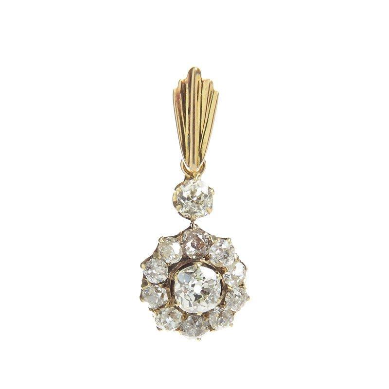 Pendant with diamonds, XIX/XX th century gold ~ 0,585,