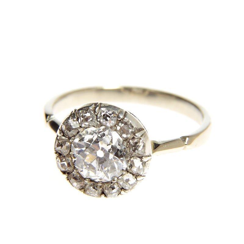 Diamond ring, XIX/XX th century white gold 0,585, silve