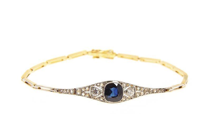 Bracelet with sapphire,  Sweden, 1927  gold 0,750, plat