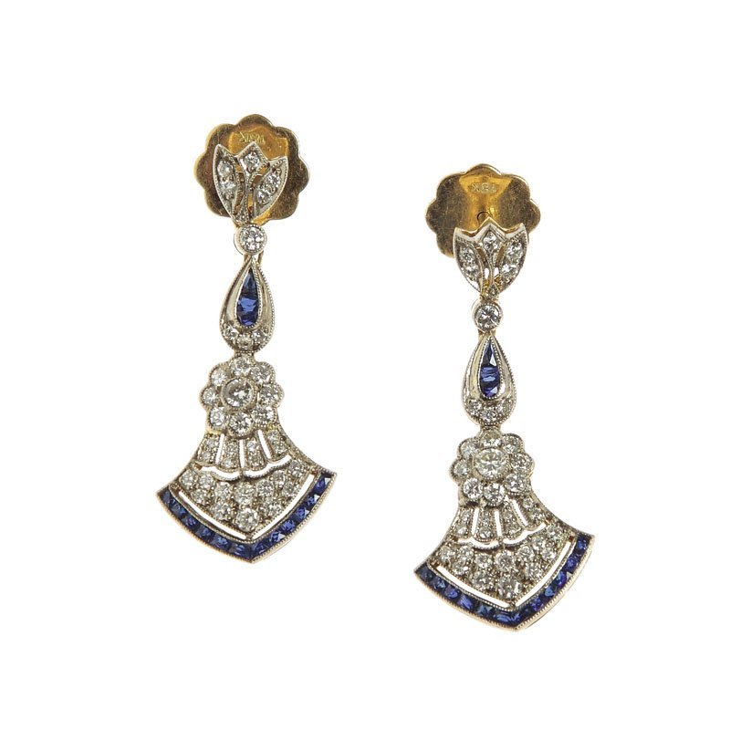 Earrings with sapphires, 40.–50.-ties XX th century gol