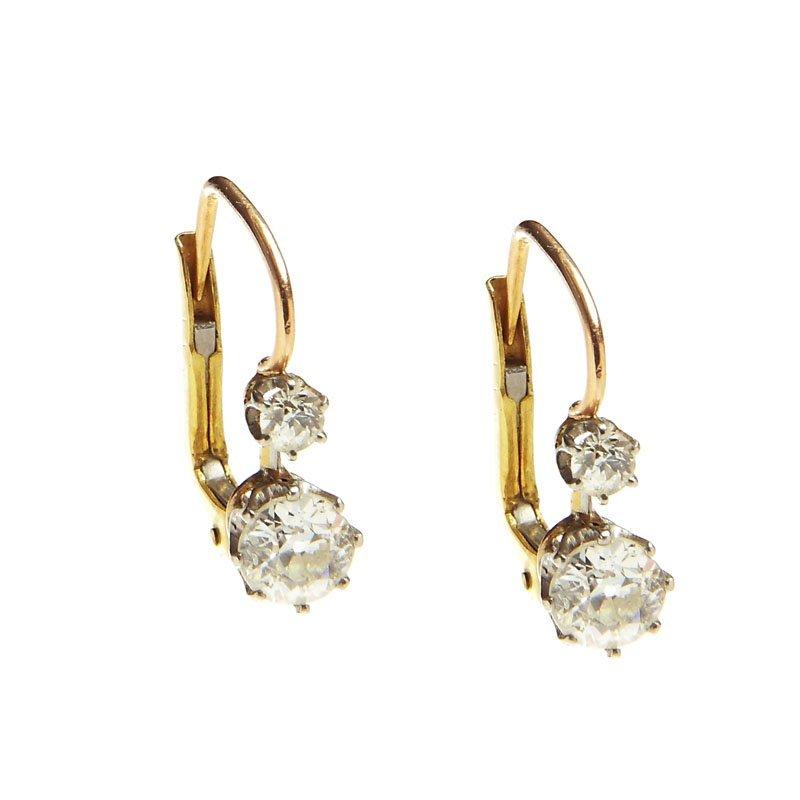 Diamond earrings, beginning of XX th century gold ~ 0,7