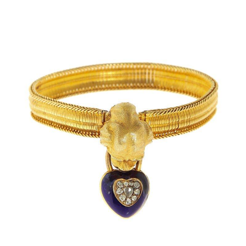Bracelet, XIX th century gold ~ 0,585, enamel, rose-cut