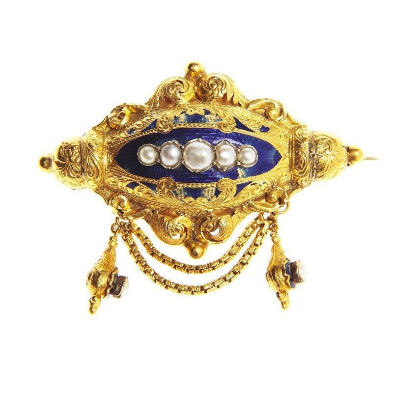 Brooch, France, XIX th century gold 0,750, cobalt ename