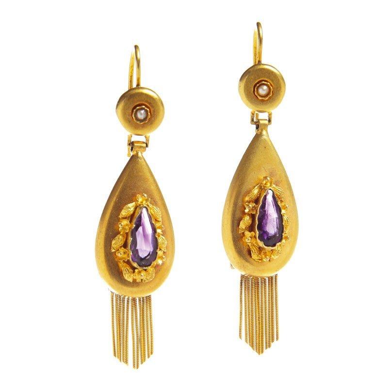 Earrings, XIX th century, biedermeier gold 0,585, 2 ame