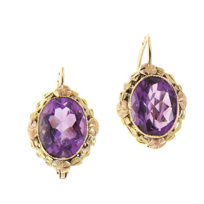 Earrings with amethysts, 20-30-ties of XXth century, go
