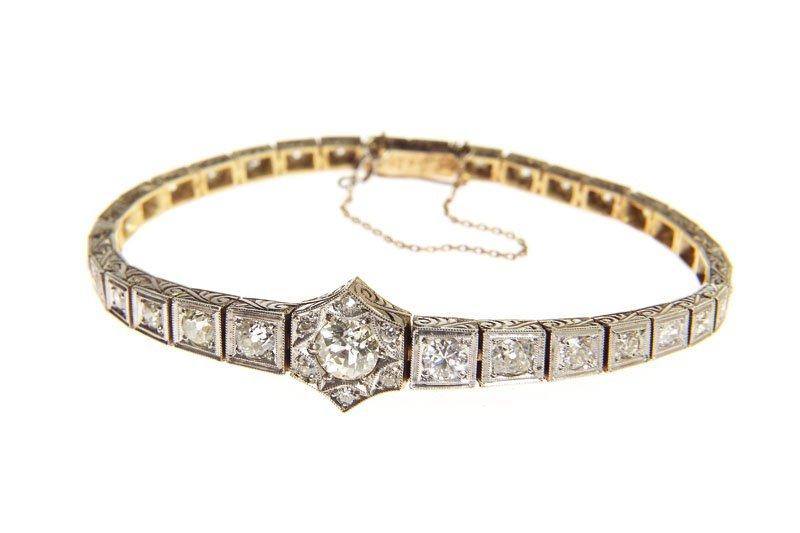 Bracelet, XX th century gold 0,585, silver, diamonds to
