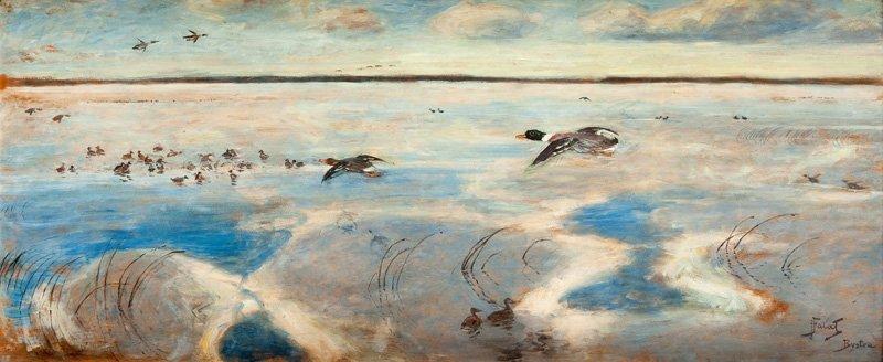 "Julian Falat (1853 Tuliglowy - 1929 Bystra) ""Wild ducks"
