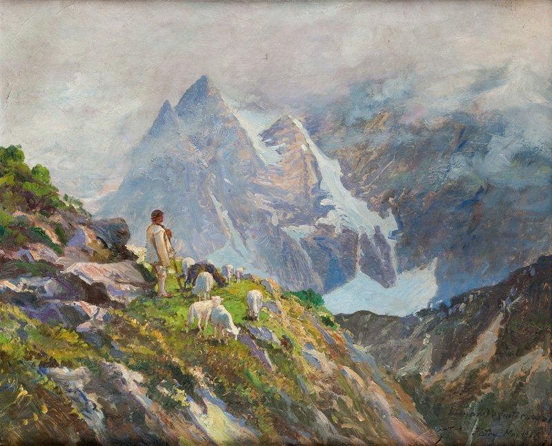"""Leonard Winterowski (1886 - 1927) """"Tatry - widok z doli"""